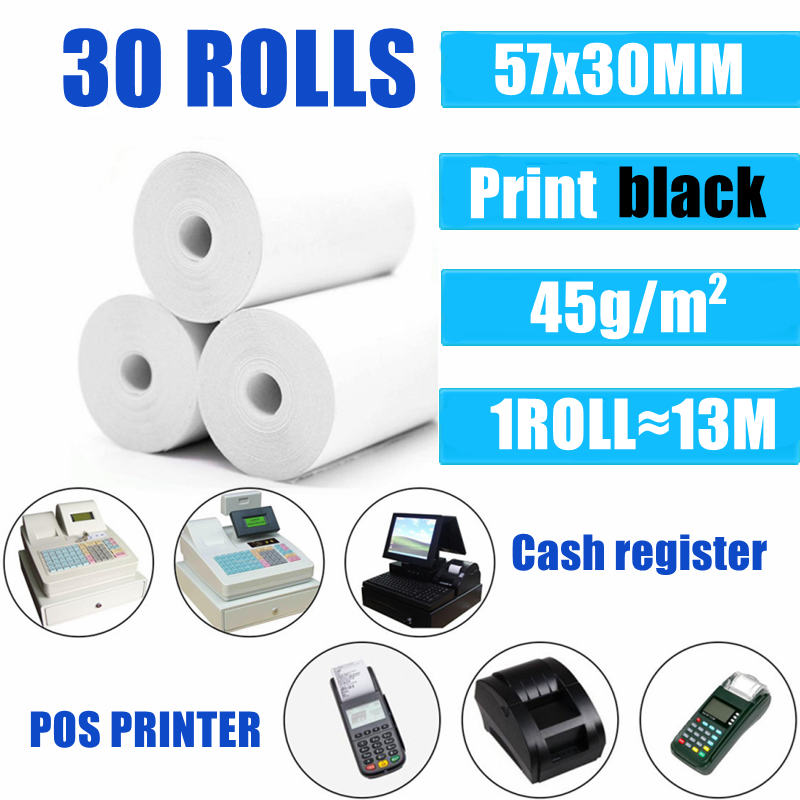 30 Rolls Thermal Paper 57x30 mm POS Printer Mobile Bluetooth Cash Register Paper Rolling Papers Pos Hospitality