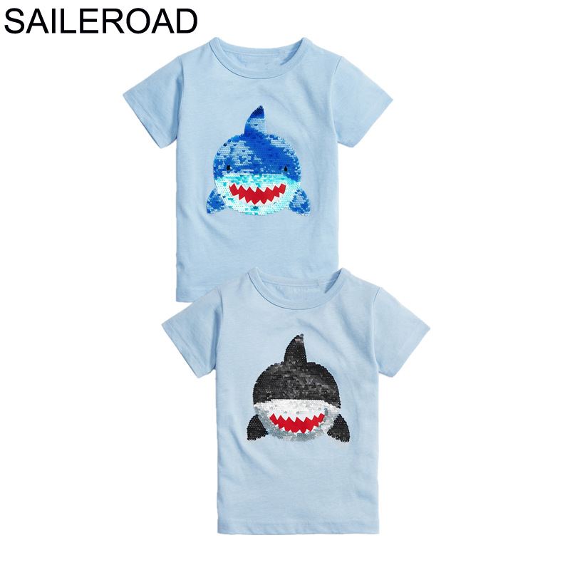 SAILEROAD Boys t-shirts Green Dinosaur Face-changing Red Dinosaur Paillettes Shirts for Kids Clothes Sequins T Shirts Children 5