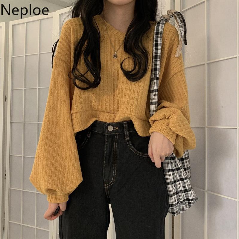 Neploe suéter coreano com gola v manga comprida, pulôveres soltos e sólidos de malha, outono/inverno, 2020