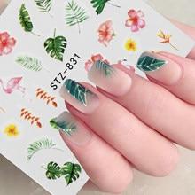 1 pz acqua decalcomania del chiodo e adesivo fiore foglia albero verde semplice estate cursore fai da te per Manicure Nail Art filigrana Manicure Decor