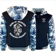 SOA Sons of Anarchy Hoodies Mens Winter fleece Thicken Warm Camouflage coat zipper Sweatshirt SAMCRO Print Mens Hoodies Jacket
