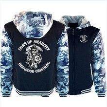 Soa sons of anarchy hoodies dos homens inverno velo engrossar quente camuflagem casaco com zíper moletom samcro impressão hoodies dos homens jaqueta