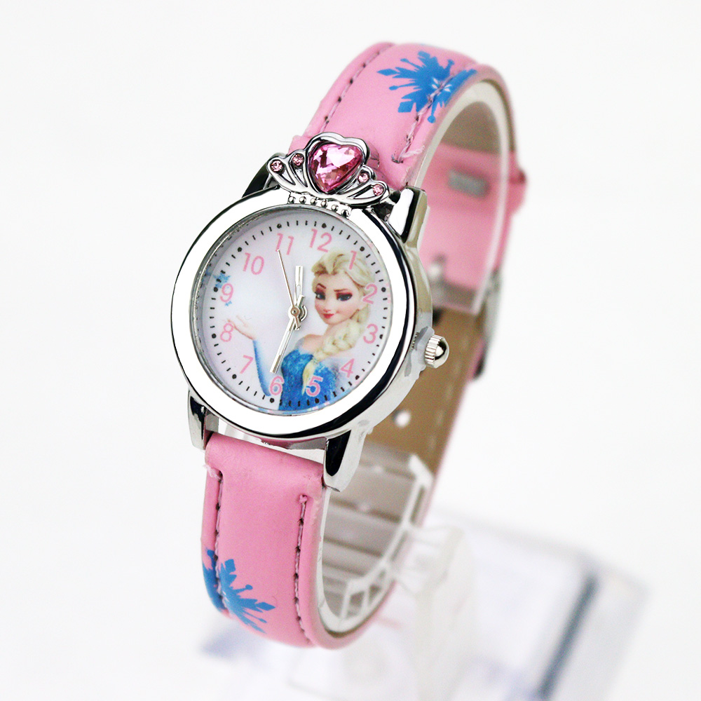 Princess Elsa Cartoon Children Watches Anna Crystal Princess Kids Watches Cute Girls Clock Students Quartz Wristwatch Gifts