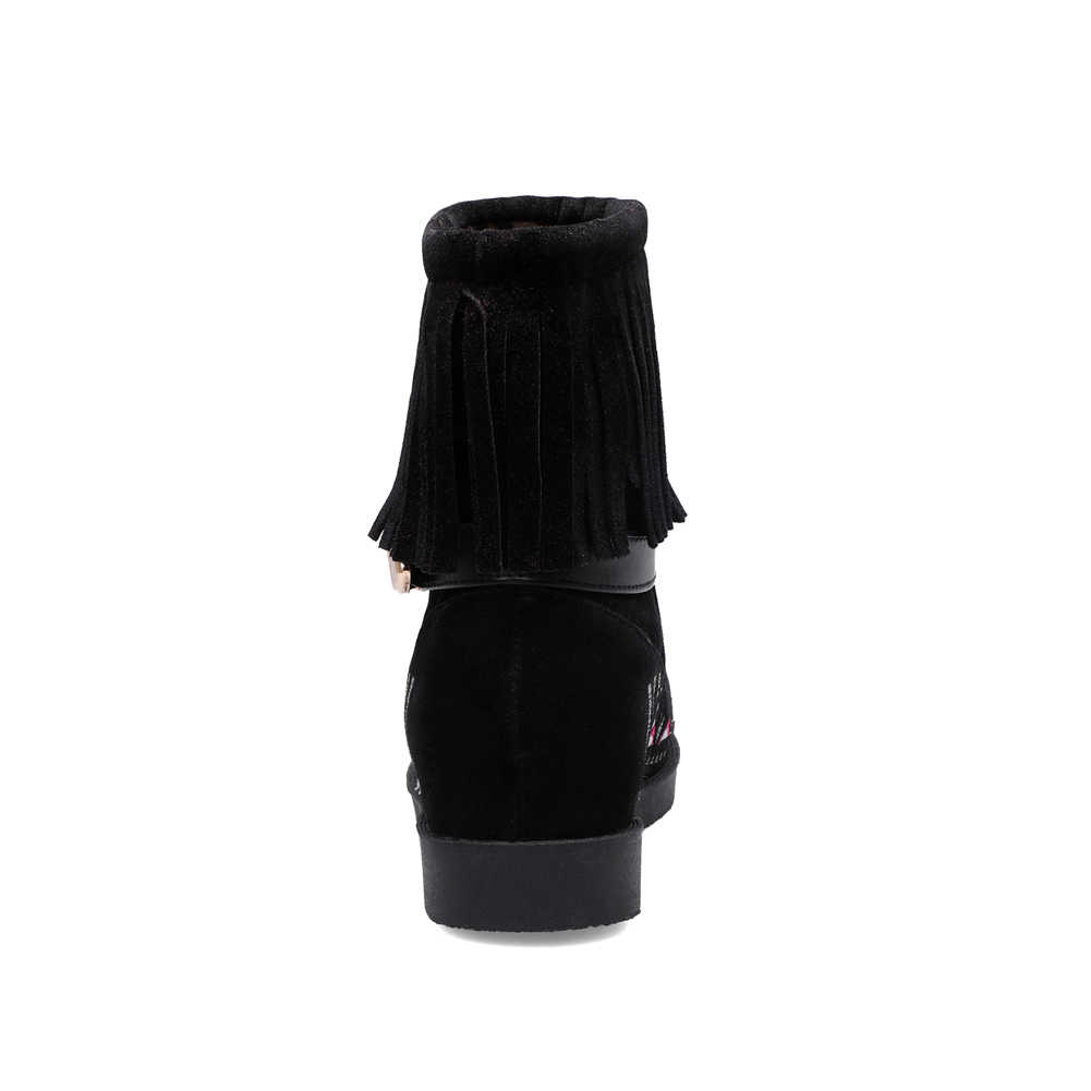 BONJOMARISA Yeni Dropship 34-43 Sıcak Satış Etnik Patik Kadınlar Oyalamak yarım çizmeler Kadınlar 2019 Sonbahar Casual Fringe Ayakkabı Kadın
