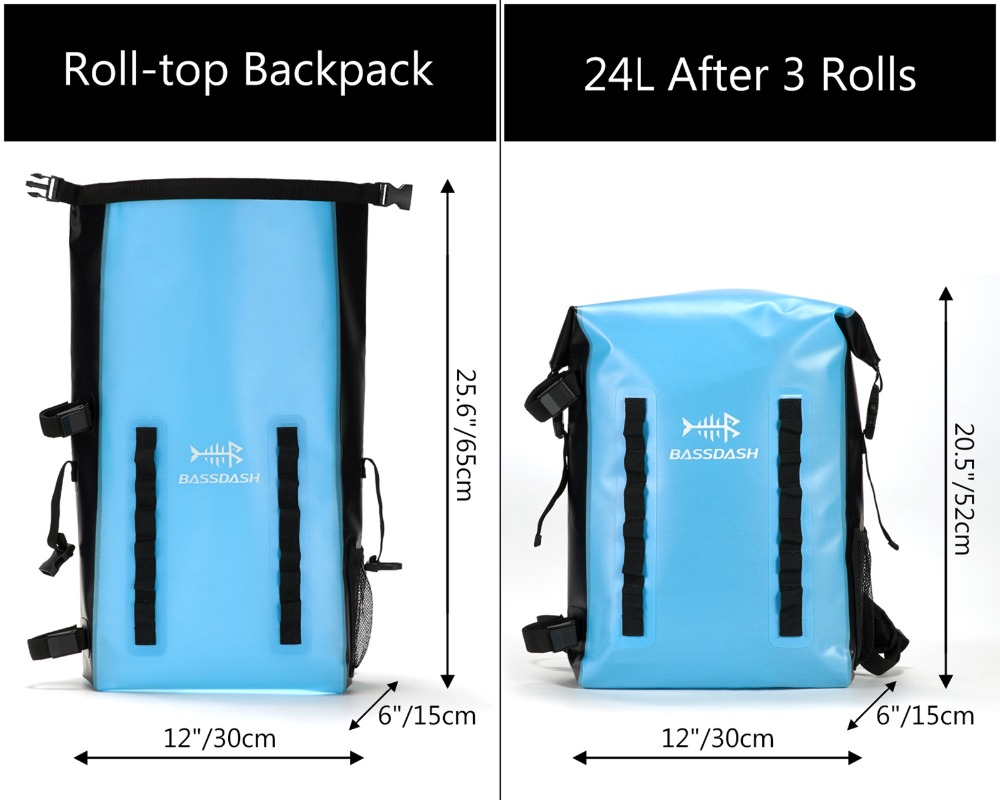 Bassdash Waterproof TPU Backpack 24L Roll-Top Dry Bag with Rod Holder