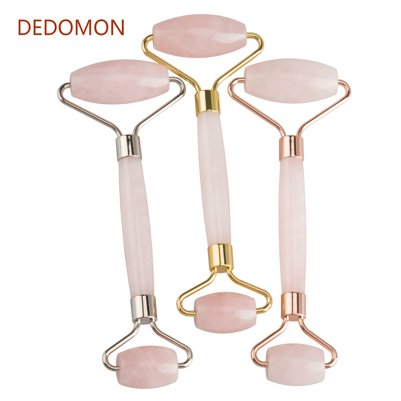 1PC Rose Quartz Face Massage Roller Double Head Slimming Face Massager Lifting Tool Face Anti Wrinkle Removal Massage Roller