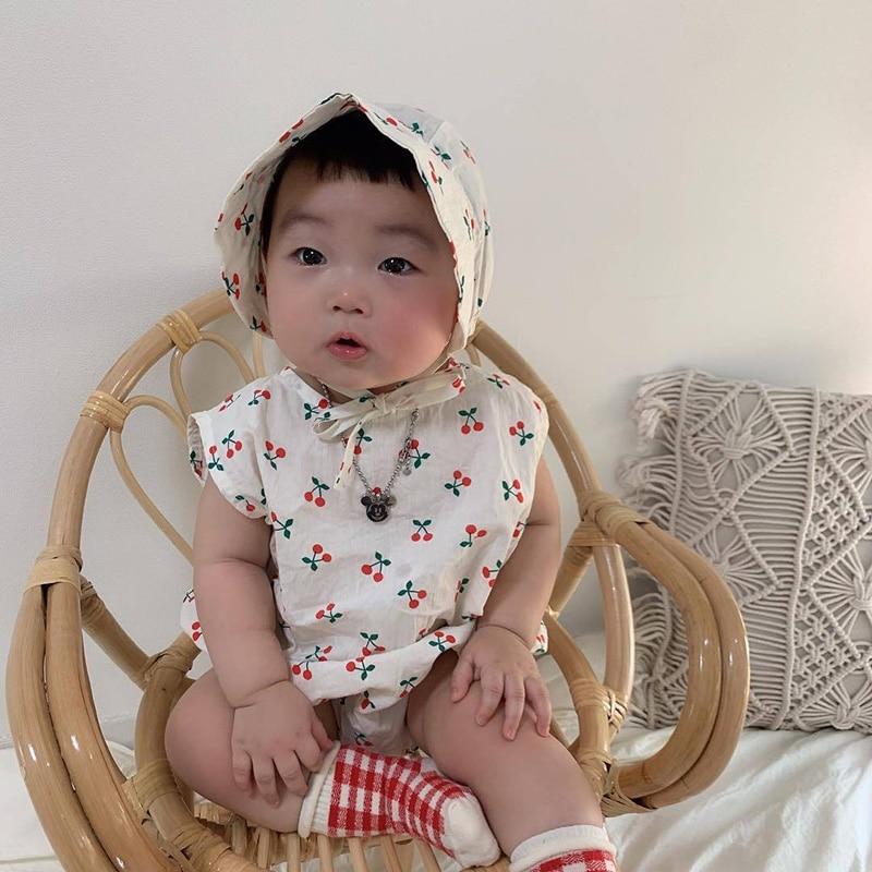 MILANCEL ]baby One Piece Cotton Infant Girls Bodysuits Sleeveless Baby Boys Jumpsuits Free Sun Hat