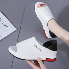 Ake Sia NEW Summer Lady Women Fashion Mujer Peep Toe Thick Soled Wedge Flat Platform Slippers Loafer