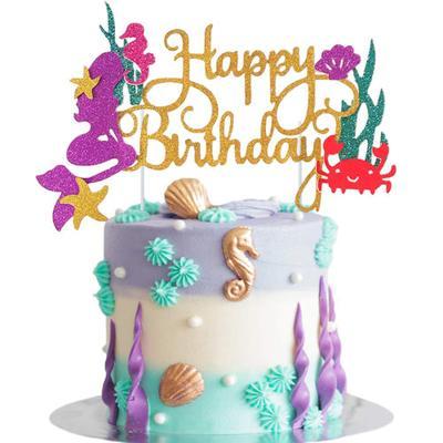 Mermaid Cake Topper Mermaid Party Seaweed Little Mermaid Birthday 1st Party Decor Under the Sea Girl Baby Shower