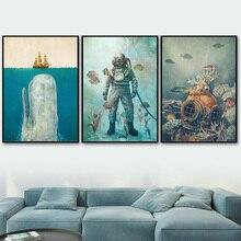 Velero mar de los Fondos Marinos buzo ballena nórdica Vintage Posters y las huellas de la lona de arte de pared duele de pared para decoración para sala de estar