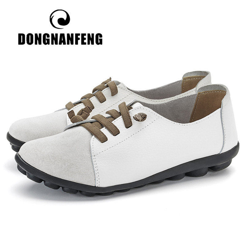 DONGNANFENG Women's Genuine Leather Mother Ladies Shoes Flats Loafers Ballerina Lace Up Soft Moccains Plus Size 43 44 MX-052