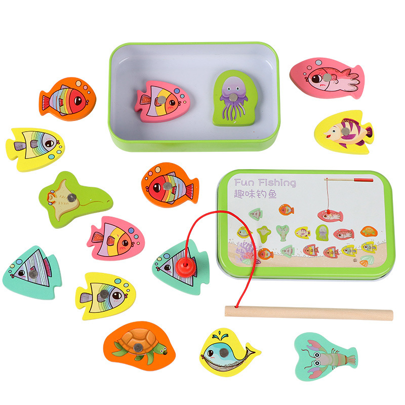 Kids Educational Fish Wooden Magnetic Fishing Toy Set Outdoor Game Toy Fish Parent-child Exchange Interactive Toys 15PCS