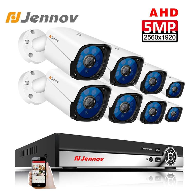 Jennov HD 5MP H.265 8 De Vigilância Por Vídeo Câmeras AHD Câmera de Segurança Definido Para CCTV Sistema de Câmera de Segurança Ao Ar Livre Câmera DVR p2P