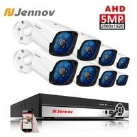 Jennov HD 5MP H.265 видеонаблюдение 8 камера s камера безопасности набор для видеонаблюдения наружная камера безопасности Система AHD камера DVR P2P