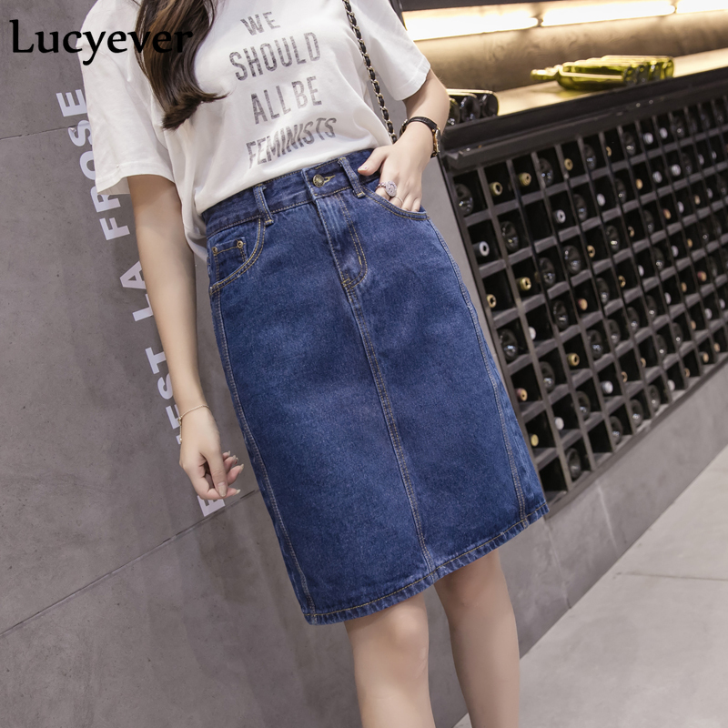 Lucyever Korean Loose Women Denim Midi Skirt Summer A-line Blue Female Jeans Vintage Casual Cotton Skirt Plus Size Faldas 5XL