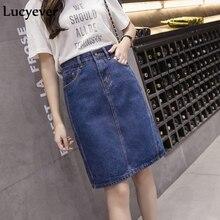 Lucyever coreano solto feminino denim midi saia verão a linha azul feminino jeans vintage casual saia de algodão plus size faldas 5xl