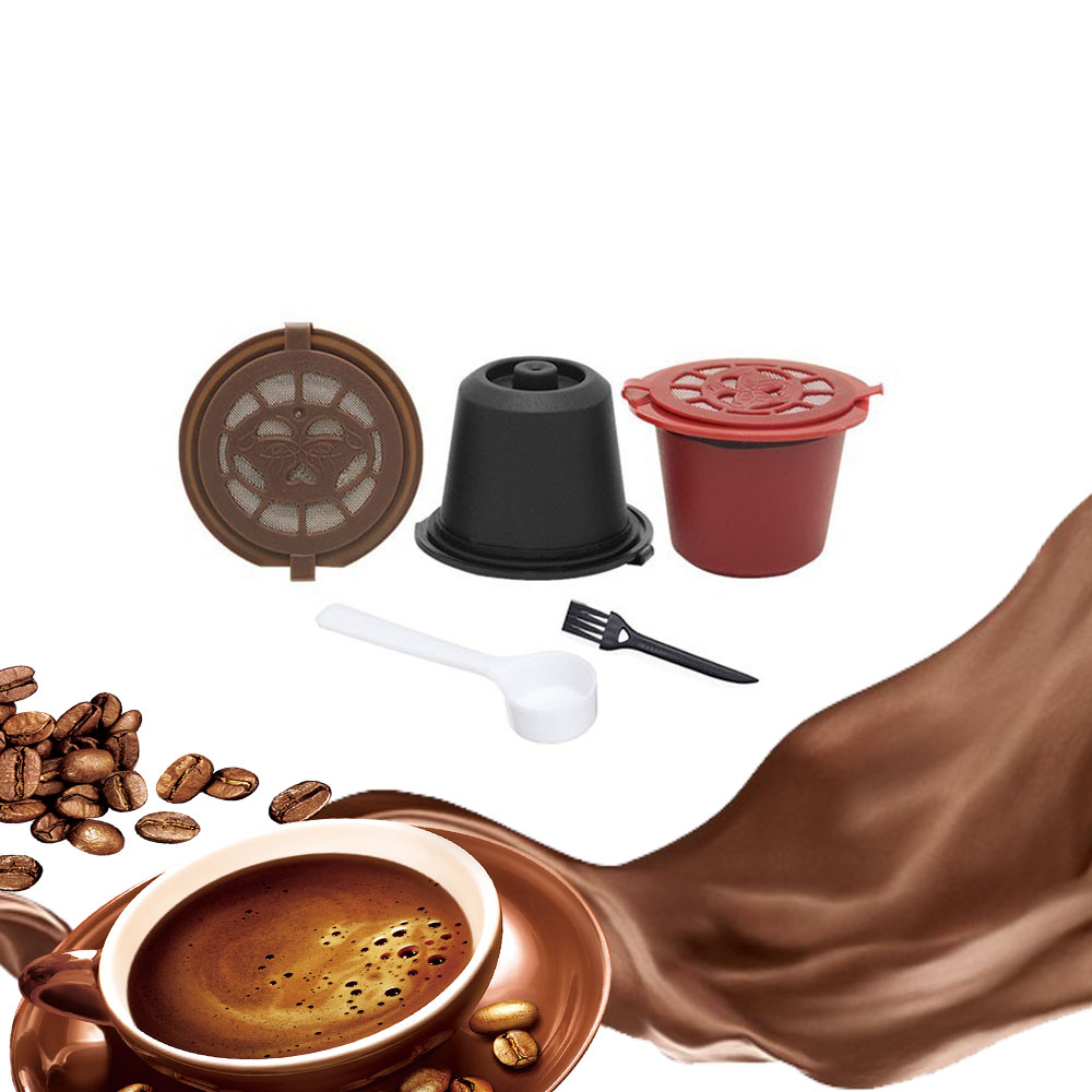 3 PCS Coffee Filter 20ml Reusable Refillable Coffee Capsule Filters For Nespresso With Spoon Brush Kitchen Accessories