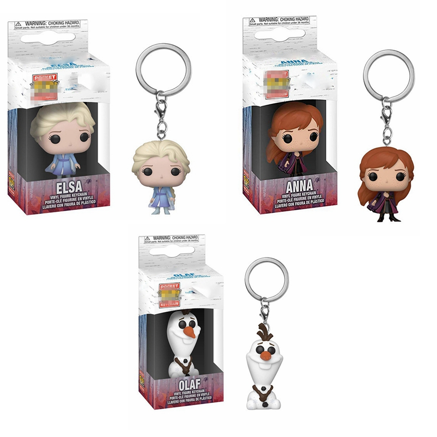 funko POP <font><b>Figure</b></font> Keychain funko POP <font><b>Frozens</b></font> <font><b>2</b></font> Princess Annai Elsai Olaf Collection Toys for Children with Box Bag Pendant image
