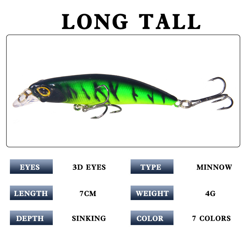 1PCS Minnow Fishing Lure Laser Hard Artificial Bait 7CM 4G Fishing Wobblers Crankbait Minnows 3D Eyes Fishing Tackle in Fishing Lures from Sports Entertainment