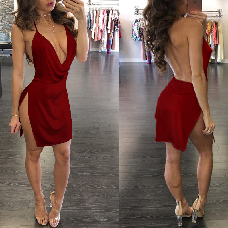 Backless Strap Dress Side Open Deep V-neck Sexy Dress Temperament Mini Dress Vintage Clothes Dropshipping Dress Women Ropa Mujer 2