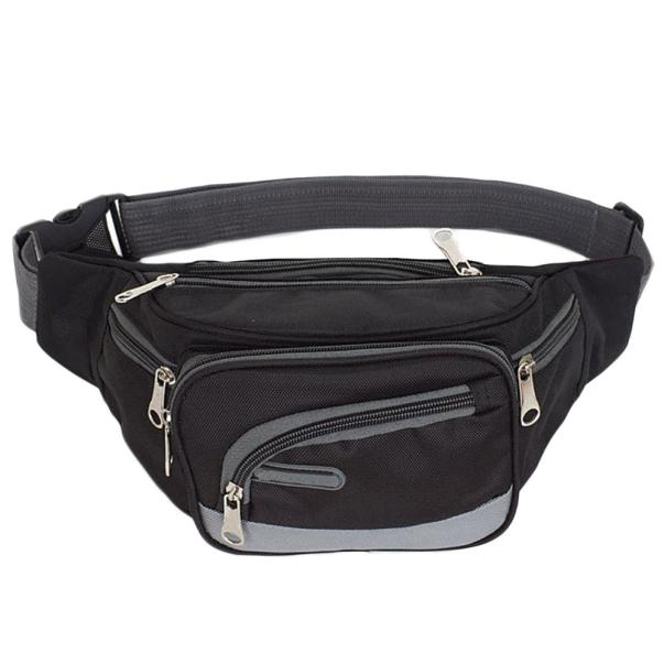 SILVIA Cowhide Running Belt Waist Fanny Pack Pouch for Outdoor Travel Sport Color : Black