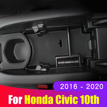 For Honda Civic 10th 2016 2017 2018 2019 2020 Accessories Car Central Armrest Storage Box Auto Container Glove Organizer Case car central storage box broadhurst armrest remoulded car glove storage box for toyota rav4 2019 2020 accessories auto styling