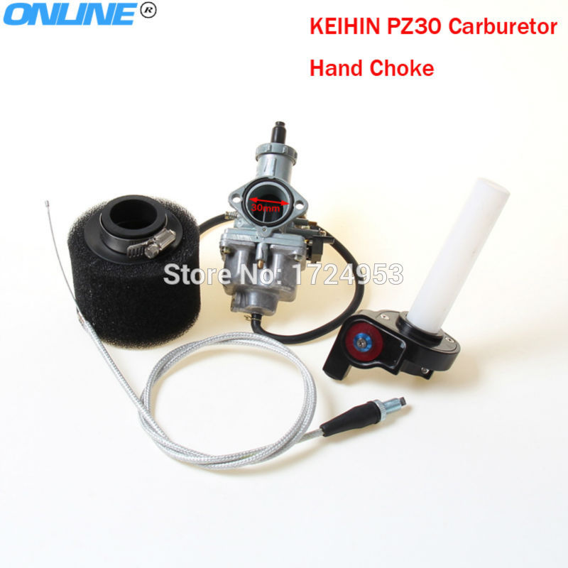 New KEIHIN 30mm PZ30 Carburetor hand choke + Visiable Transparent Throttle +throttle Cable irbis + Air Filter set image