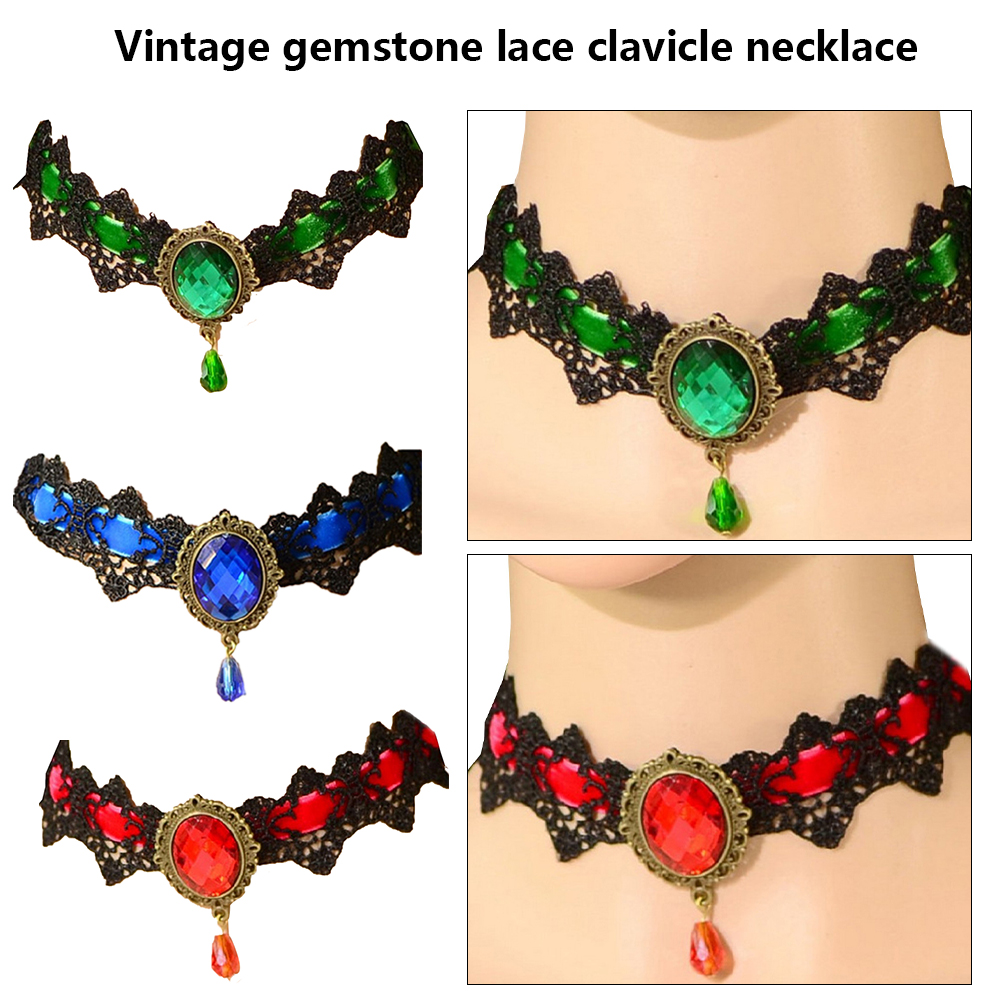 Emerald Green Gothic Choker Black lace necklace Gem Chains gothic Jewelry