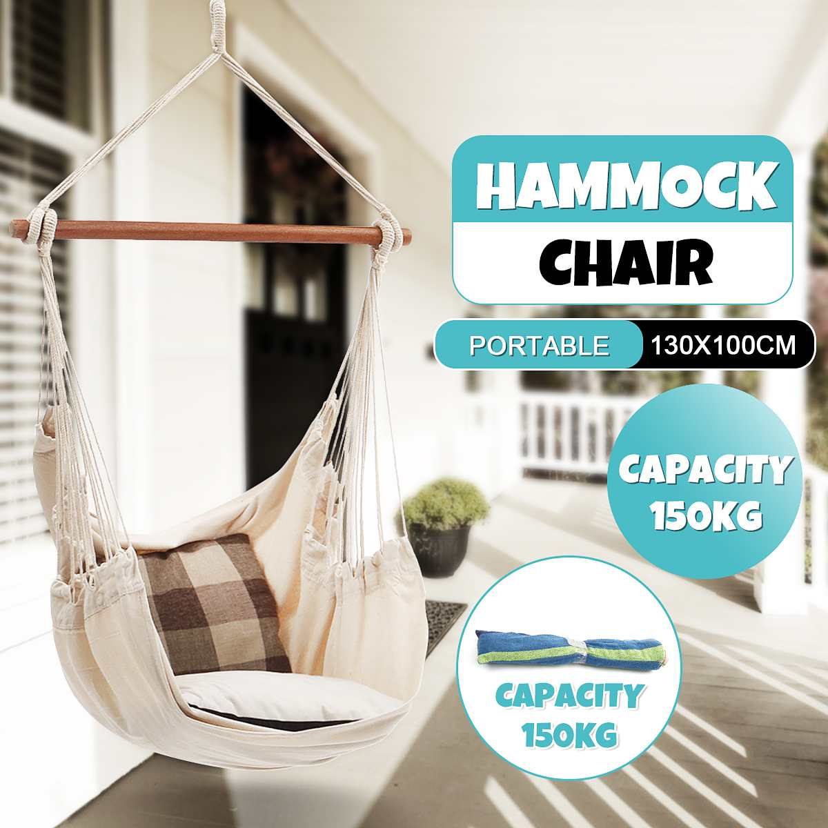 150kg Hammock Garden Hang Lazy Chair Swinging Indoor Outdoor Furniture Hanging Rope Chair Swing Chair Seat bed Travel Camping