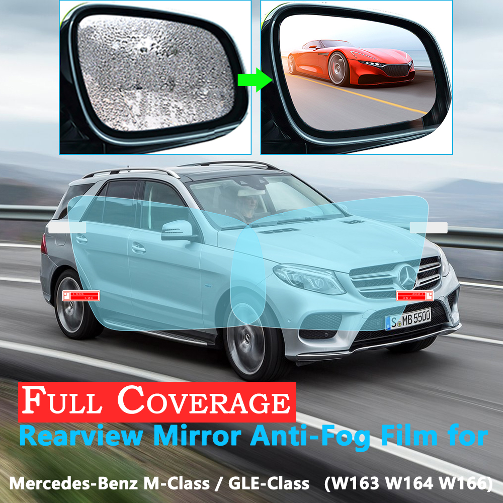 Full Cover Anti-Fog Film for <font><b>Mercedes</b></font> Benz M Class GLE W163 <font><b>W164</b></font> W166 <font><b>ML</b></font> <font><b>350</b></font> ML250 GLE250 GLE350 AMG Rearview Mirror Rainproof image