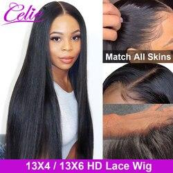 Парик из человеческих волос Celie, прямой, с HD кружевом, передний al парик, парик с застежкой 4x4, 13x6, прозрачные кружевные парики для женщин, прямо...