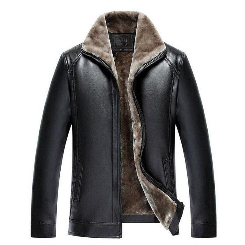 Veste en cuir d'hiver hommes épaississement chaud coupe-vent Outwear mâle Faux fursurvêtement hommes vestes et manteaux en cuir 5XL grande taille