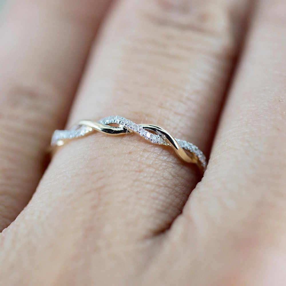 Yaratıcı gül altın renk büküm klasik kübik zirkonya düğün çift yüzük gül altın yüzük kadınlar için parti takı yıldönümü