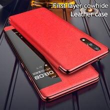 Akıllı görünüm Flip Case için Huawei P40 P30 P20 Pro artı Mate 30 20X P akıllı 2019 Nova 3 onur 20 Lite 6.15 8X 10 10i deri kapak
