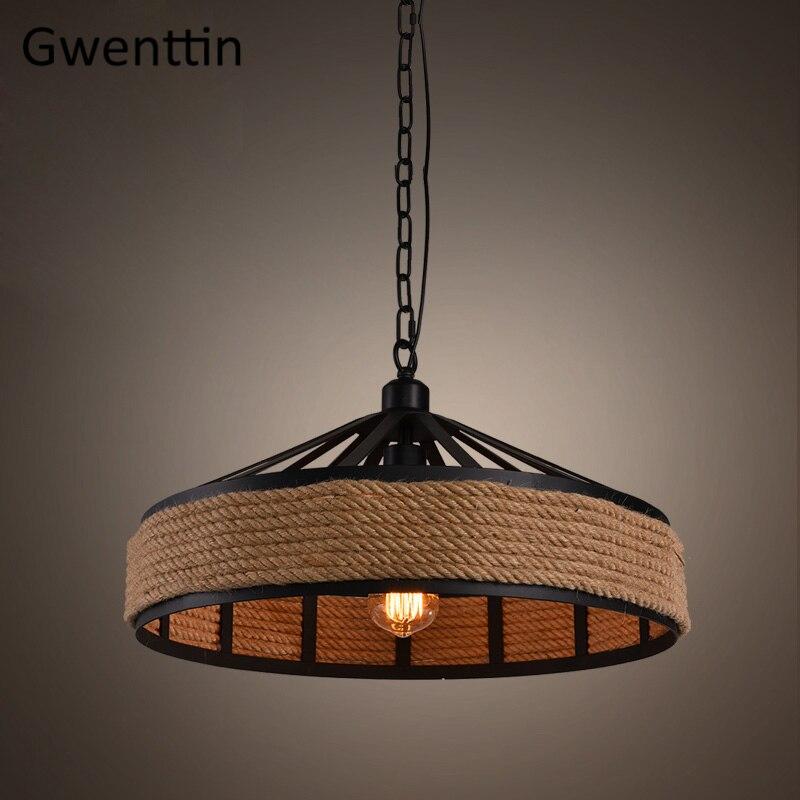 Vintage Hemp Rope Iron Pendant Lamp Kitchen Hanging Lights Dining Room Bar Industrial Lamp Loft Decor Home Lighting Fixtures E27