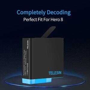 Image 3 - TELESIN 3 Khe Cắm Đèn Pin LED Sạc Hộp Bảo Quản + Tặng 3 Bộ Pin + Cáp Type C Cho GoPro Hero 5 6 7 8 Phụ Kiện