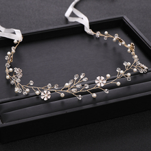 AiliBride Handmade Gold Wedding Headband Pearl Crystal Flower Bridal Headpiece tiara Wedding Hair Accessories Prom Hair Jewelry недорого