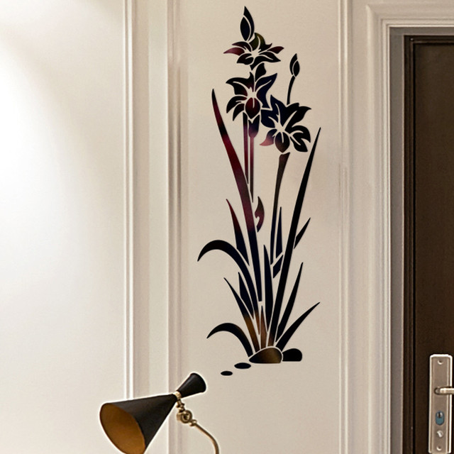 3D DIY Lotus Flower Mirror Wall Sticker Removable Acrylic Art Mural Decal Stickers for Living Room Bedroom Wall Home Decor L*5 1