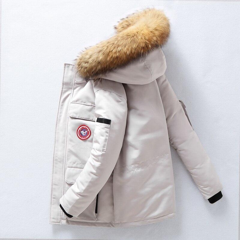 2019 New Real Fur Collar   Down     Coat   Men   Coat   Winter Jacket Warm Thicken Hooded Overcoat Comfortable Male Solid Color