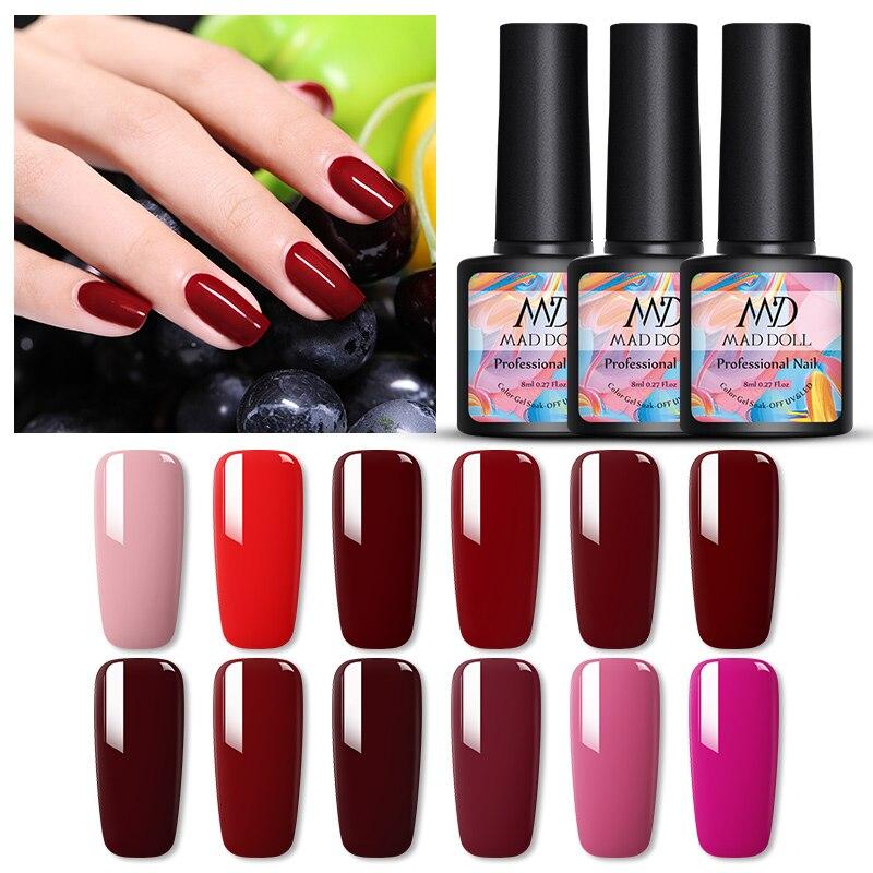 MAD DOLL 8ml Nail Gel Polish Purple Red Pink Series Color Soak Off UV Gel Polish Varnish Long-Lasting One-shot Nail Art Gel