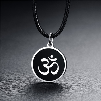 ZORCVENS New Silver Color Stainless Steel Hindu Buddhist AUM OM Pendant Necklace Male Fashion Leather Chain Jewelry for Man 1