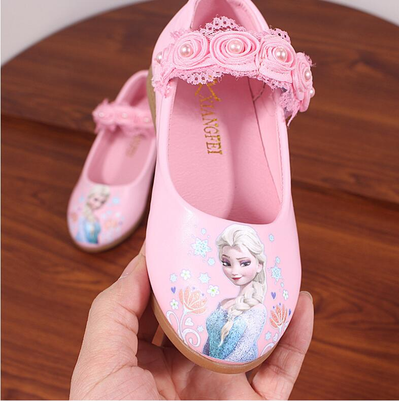 Brand Children Shoes Kids Girls Fashion Princess Cute Elsa Sandals Kids Chaussure Enfants Flower Lace Flat Party Shoes