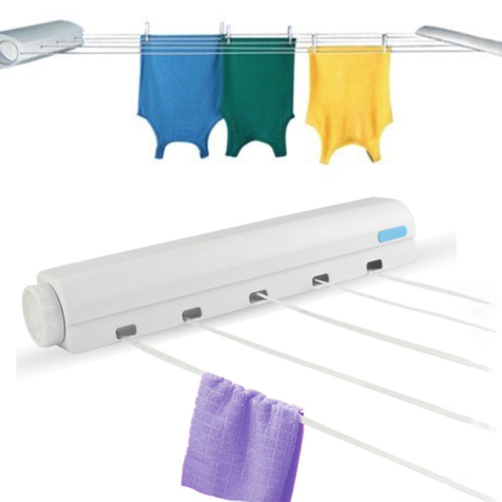 Nylon Wall Hanger Retractable Clothes Line Indoor Clothes Magic Laundry Hanger Retractable Clothesline Rope Cloth Drying Rack