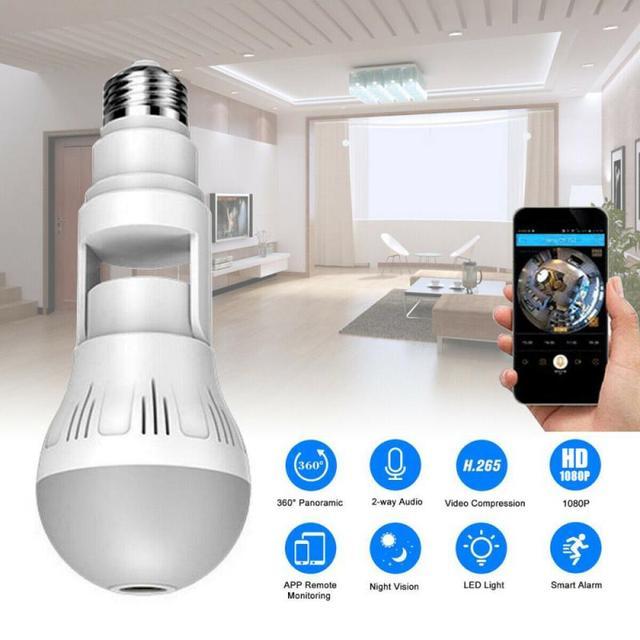 360° Panoramic Wifi Camera E27 Light Bulb HD 1080P Security IP Camera Baby Pet Monitoring Good LED Light Effect Lighting 2