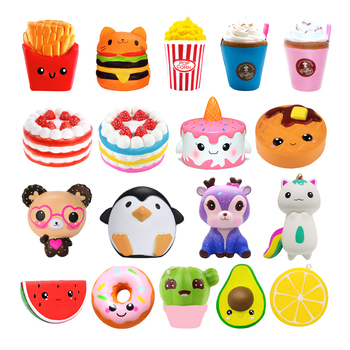 Jumbo Kawaii Popcorn Fries Panda Squishy Cake Deer Milk Squeeze Toys Slow Rising Cream Scented Antistress Child Kid Baby Toys jumbo squishy blue diver cake toys