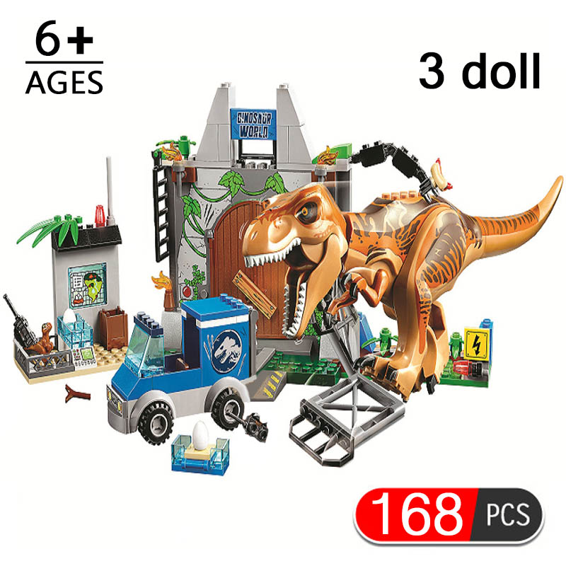 168pcs Jurassic Parked Tyrannosaurus Breakout Building Blocks Compatible Legoinglys Jurassic World Dinosaurs Toy For Children