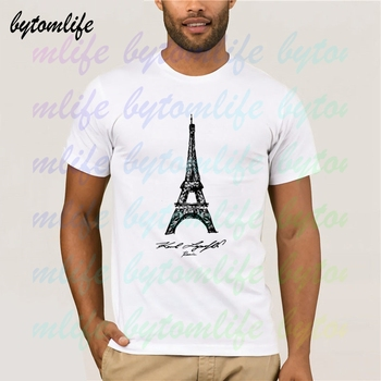 Karl Paris Eiffel Tower Lagerfeld T Shirt Summer Print White Clothes Popular Tees Amazing Short Sleeve Unique Men Tops - discount item  48% OFF Tops & Tees
