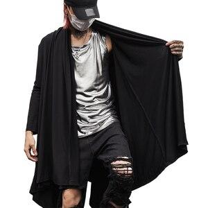 Image 2 - Autumn winter men gotico punk rock trench coat long jacket cloak men vintage black hooded overcoat cardigan gothic style coats