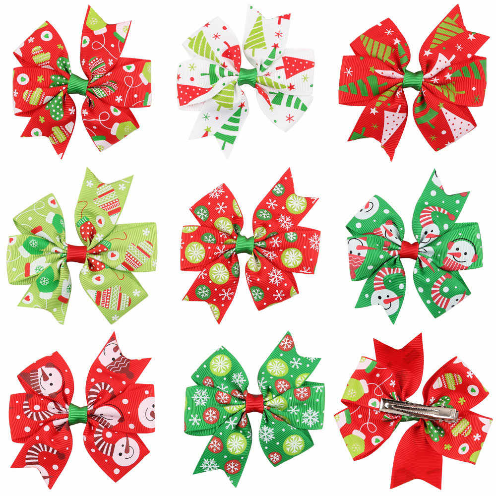 Hairclips girls christmas hair pins kids Baby Girls Christmas Ornaments Bowknot Hairpin Headdress D30107