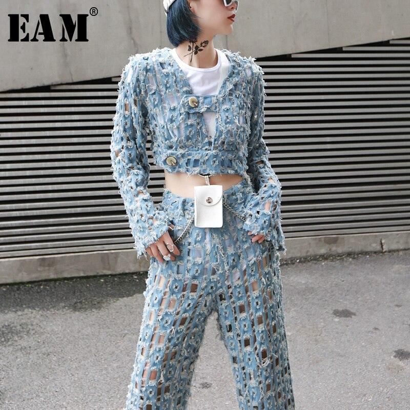 [EAM] Loose Fit Blue Denim Hollow Out Burr Short Jacket New V-collar Long Sleeve Women Coat Fashion Tide Spring 2020 JY322